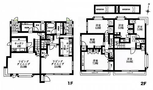 キッチン、バス、リビングが完全独立し プライバシーが守れる2世帯住宅です。