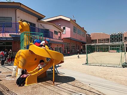尾山台幼稚園 徒歩6分 広々した園庭。子供たちものびのび。
