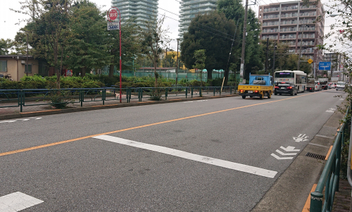 約15m幅員の前面道路。バスも通り、駅へと続く歩道を有した大通りの為人通りが多いです。