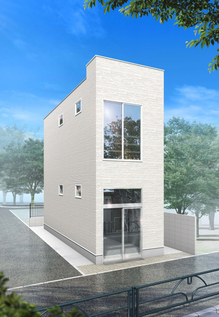 清潔感のある白を基調とした外壁に、開放感のある大きな窓がポイント!
