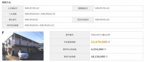 JR青梅線福生駅徒歩圏売りアパート物件競売不動産物件入札サポート情報(有)リビングホーム