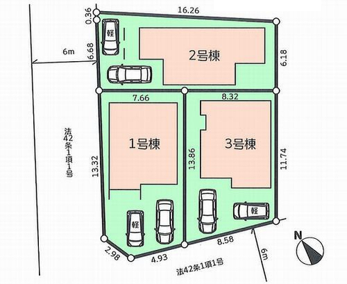 相模原市緑区二本松エリアの新築建売分譲一戸建て物件情報 区画図