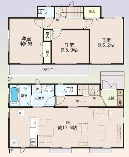 相模原市緑区橋本エリアの新築一戸建て物件情報 B号棟間取り図