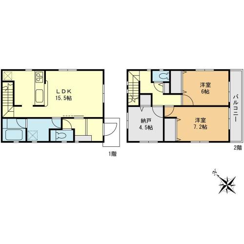 相模原市緑区東橋本エリアの新築建売分譲一戸建て物件情報 2号棟間取り図