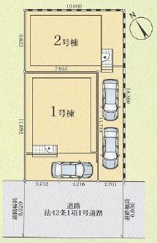 相模原市緑区東橋本エリアの新築建売分譲一戸建て物件情報 区画図