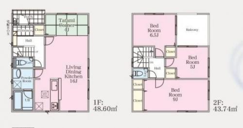 相模原市緑区町屋新築分譲住宅建物№1号棟間取り図