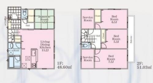 相模原市緑区町屋新築分譲住宅建物№2号棟間取り図