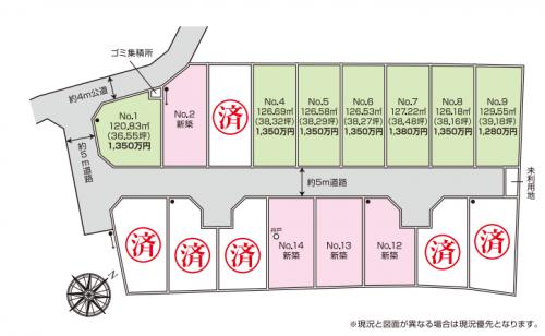 田名堀之内開発宅地分譲現地区画図